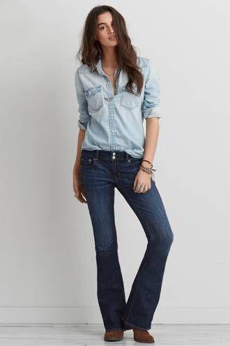 "The flared ""Artist Jean"" from American Eagle. #FlaredJeans #DenimFlashback"