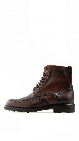 Dark brown brogue lace-ups ankle boots