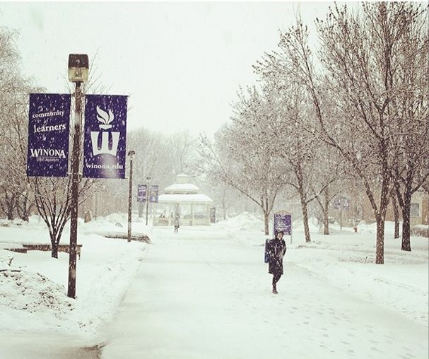 A snowy walk to classes at Winona State University