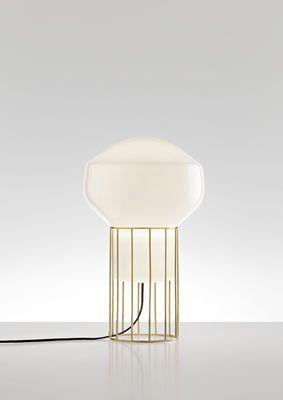 Lampe de table Aérostat Piccola / H 37 cm Structure laiton / Diffuseur blanc - Fabbian