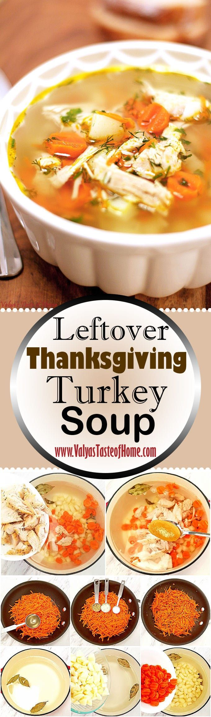The richly flavored turkey makes this soup one of a kind. It tastes so flavorful, light and satisfying. It also keeps you warm and cozy on a cool fall day. This soup recipe is so easy to make and offers cravable flavors of turkey, vegetables, and rice. When else in the year can you enjoy Leftover Turkey Soup? We LOVE it!   www.valyastasteofhome.com