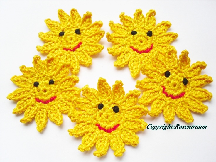Sonne  Laß die Sonne in Dein Herz :))...  Gute Launemacher gegen schlechte graue Mäusetage....   5 Stk  ca. 5,5cm   Diese Blüten können ...