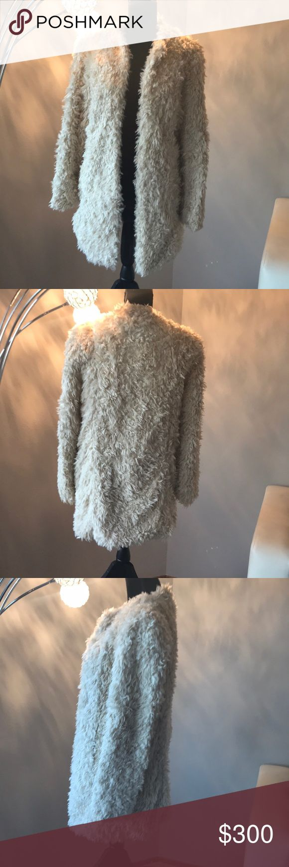 Zadig and Voltaire shag coat Cream shag coat. Eye and hook closure. 2 front pockets. Length 32in. Size S also fits M Zadig & Voltaire Jackets & Coats
