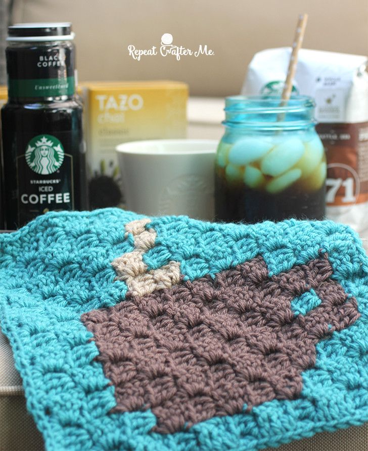Starbucks Spring Beverages and Crochet C2C Coffee Cup Granny Square