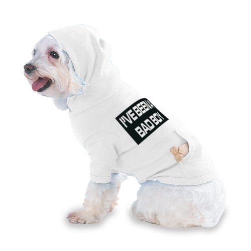 I'VE BEEN A BAD BOY Hooded (Hoody) T-Shirt with pocket for your Dog or Cat LARGE White