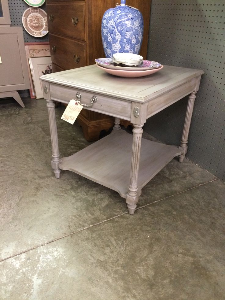 side table painted with annie sloan chalk paint in a