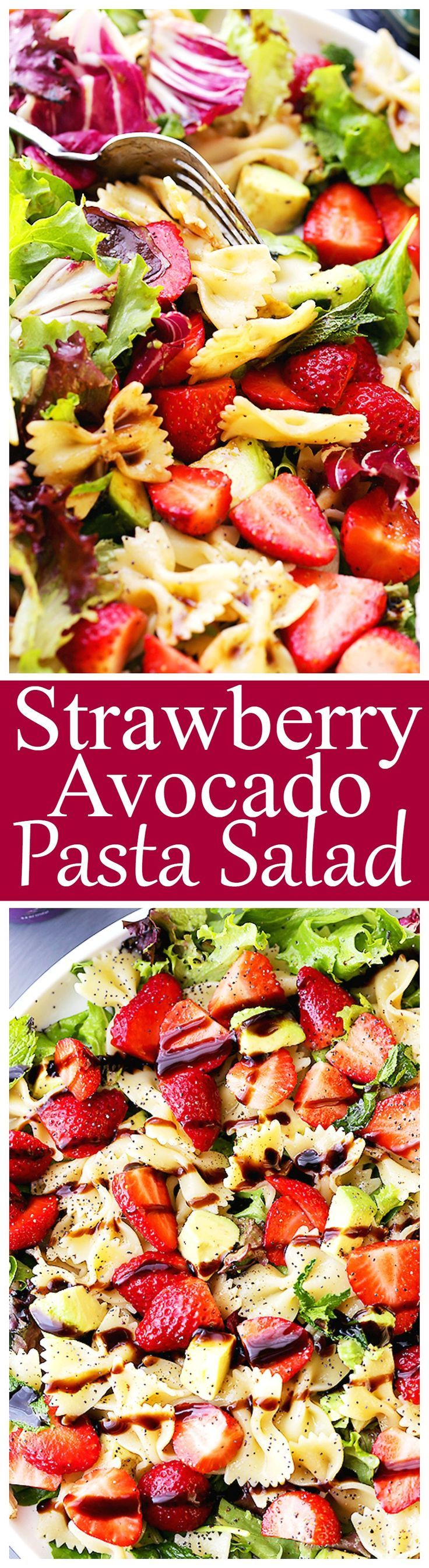 Strawberry Avocado Pasta Salad with Balsamic Glaze Recipe - Strawberries, avocados and bow tie pasta all tossed with an irresistibly creamy balsamic glaze. The ultimate potluck salad recipe! Perfect for Easter, March Madness parties, or an easy lunch.