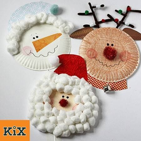 Paper Plate Christmas Characters Santa Rudolph Snowman By For Kix Cereal This Craft Is A Super Easy Way To Keep Either Toddler Or