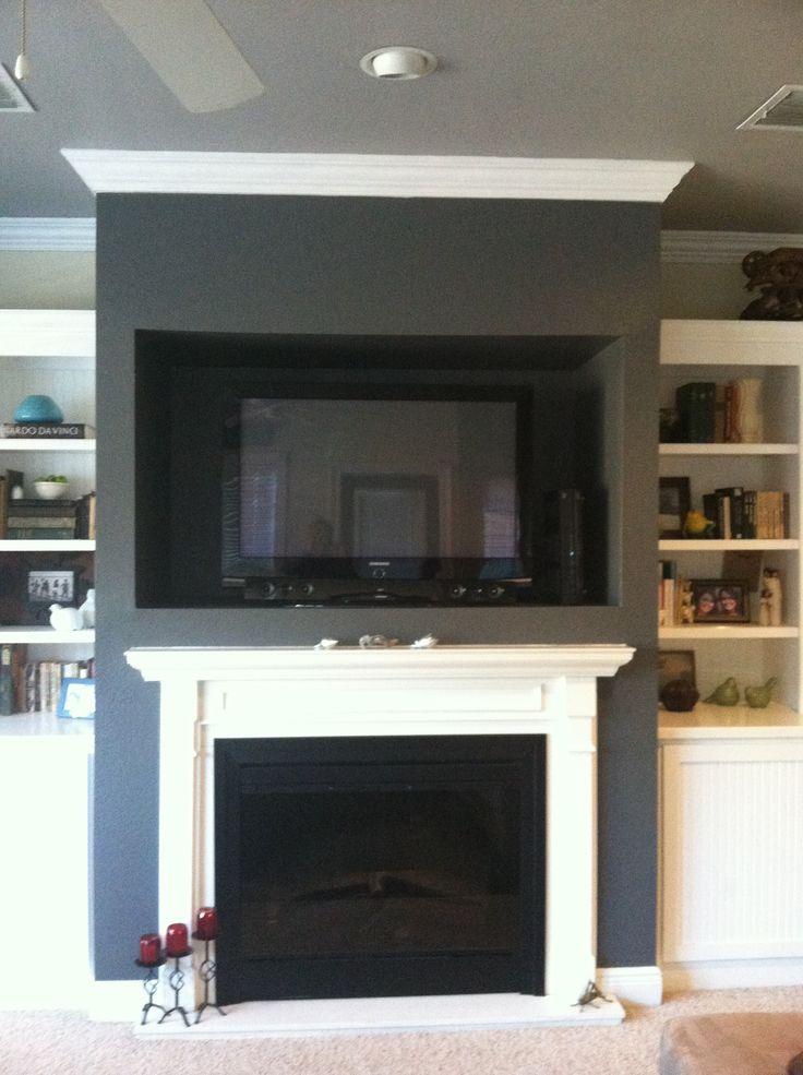 Behr Dark Ash on fireplace wall