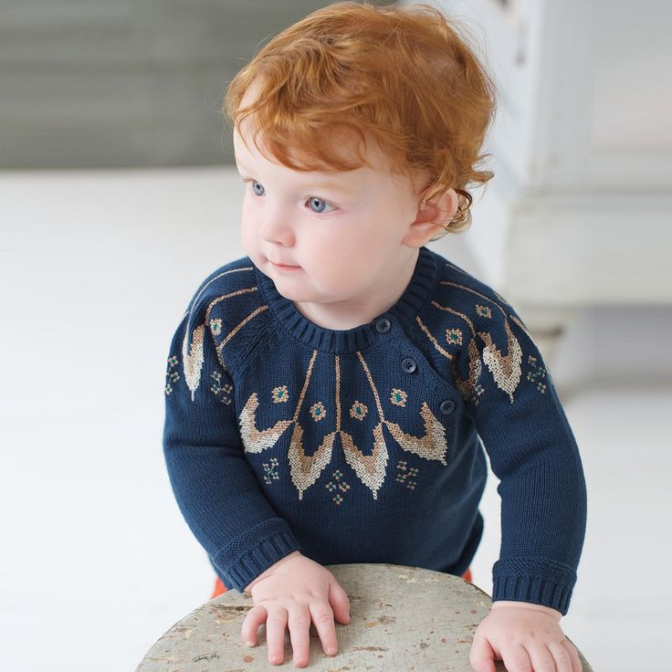 Knitted Cotton Sweater with Pattern  | Dave Bella Kids Clothes www.davebella.co.uk