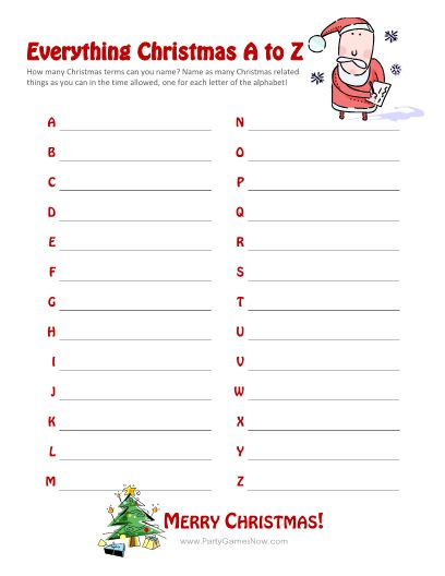 """Everything Christmas A-Z"" Game - Printable Christmas Games"
