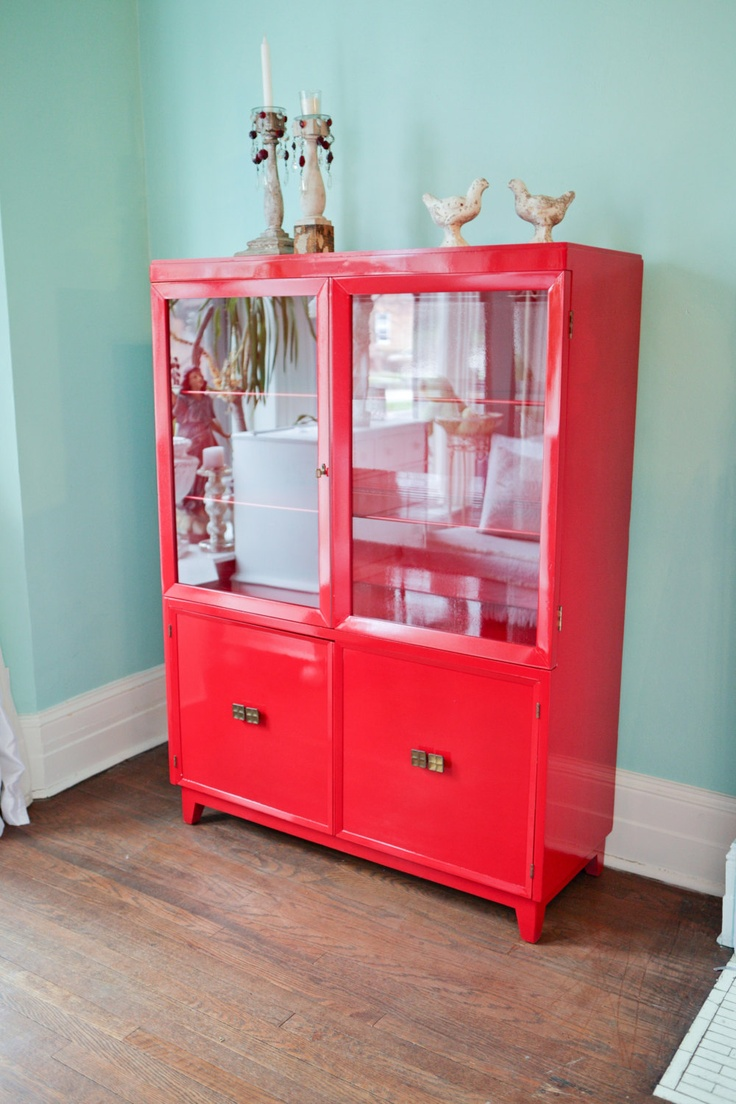 Cabinet Vintage Mid Century Modern Bookcase Red High Gloss