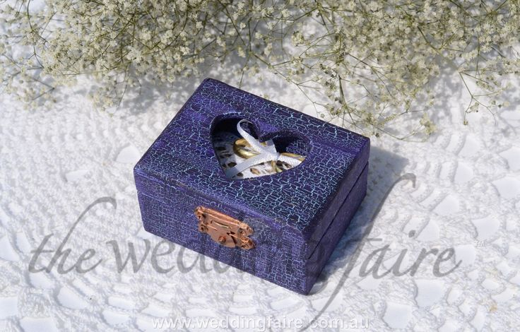 Colour Made to Order - Amethyst Blue Crackle Heart Window Rustic Ring Box - Burlap & Lace Pillow - The Wedding Faire