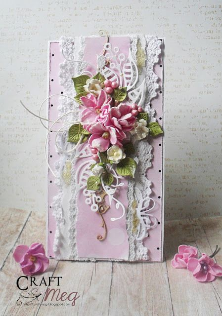 CraftMeg, Card with lace and flowers