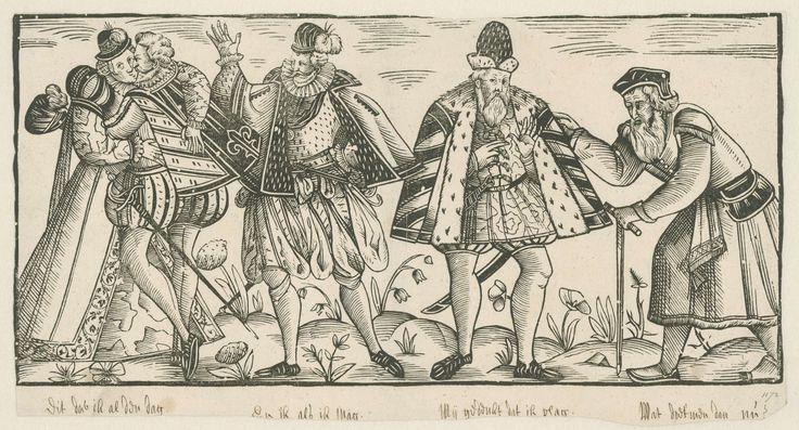 """The Four Sexual Ages of Man (as I term this motif) -- This in the Rijksmus who describe it as """"Kussend jong paar, een man in de kracht van zijn leven, een grijsaard en een stokoude man, Anonymous, c. 1580 - before 1596"""" -- BUT see next! via Rijksmus website"""