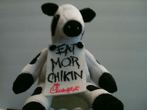 """The EAT MOR CHIKIN COW.....   A great advertising collectible, made for Chic fil-A.....  This EAT MOR CHIKIN COW..... is in great used condition.  I have included 6 pictures covering all aspects of her, for you to see, her condition, for yourself.  She stands 6"""" tall......    She's a Really, Cool, Cow..And is ready,to be shipped, to your home, right now!!    Free Shipping..."""