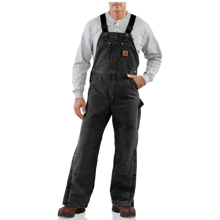 Carhartt Men's Quilt Lined Sandstone Bib Overall - 34x28 - Black