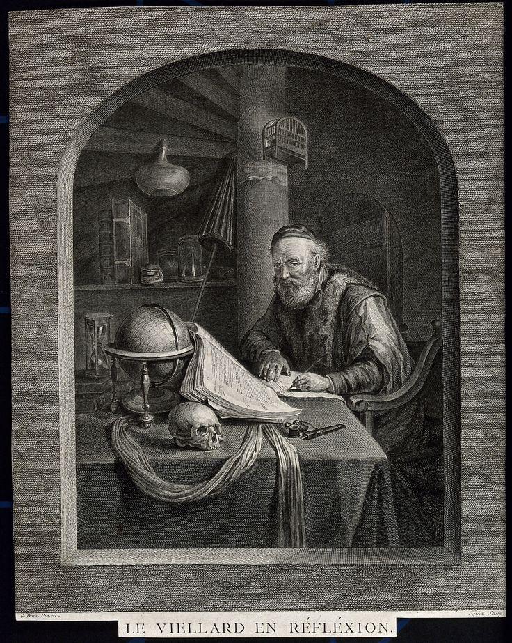 Oude meester scherpt zijn pen. Litho door F. Hanfstaengl. 1836. Wellcome Library, Londen. Naar Gerard Dou: Geleerde, opkijkend tijdens het schrijven. ca. 1635.