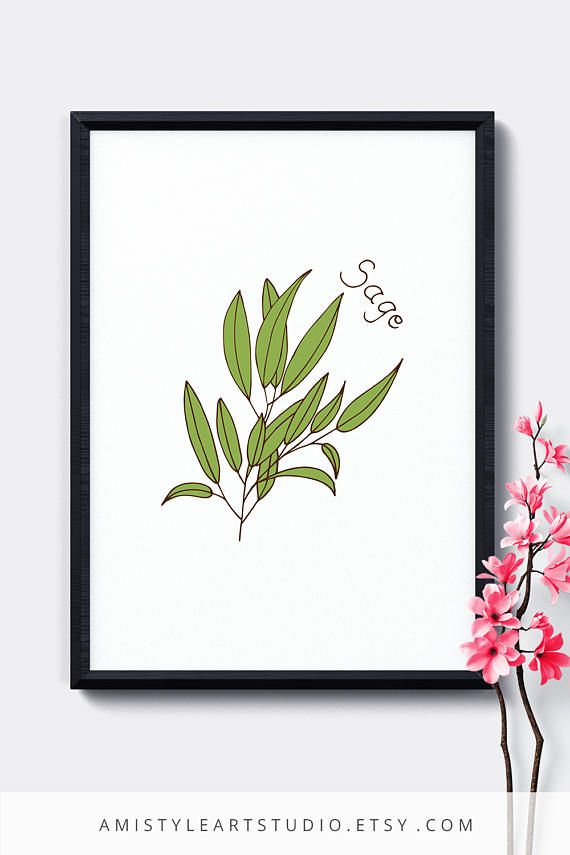Kitchen Decor, Printable Wall Hanging - Sage - printable herbs kitchen decor with a hand drawn sage graphic design. This printable herb wall art is perfect for a farmhouse decor or gift for her By Amistyle Art Studio on Etsy