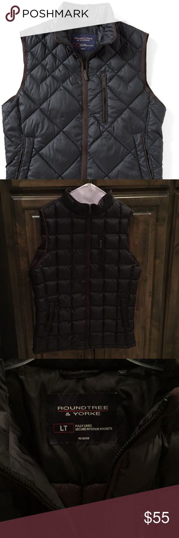 Like new Roundtree & Yorke Quilted Vest LT $149 Like new! Looks brand new- Roundtree & Yorke Quilted Vest - Men's Tall - Large - fully lined - 100% poly - Zip Front - colors: Black/ Brown - bought brand new for $149!! Roundtree & Yorke Jackets & Coats Vests