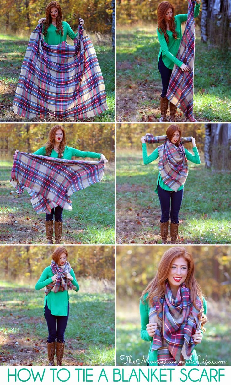 The Monogrammed Life: How To Tie a Blanket Scarf #blanketscarf: