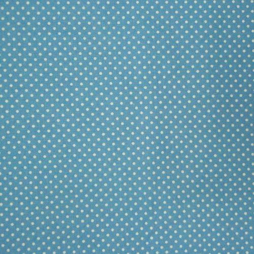 Látka modrá s bílým puntíčkem Látka šíře 140cm, 100% bavlna, tradiční vzor. Cena je za 10cm látky. Minimální odběr 10cm, ovšem látky můžete objednat dle Vašich preferencí.