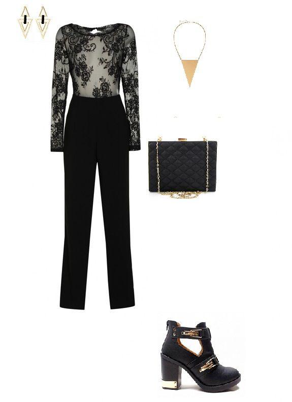 rock stylization, black overalls, gold accessories, high heels, www.magazyn.modadamska.waw.pl