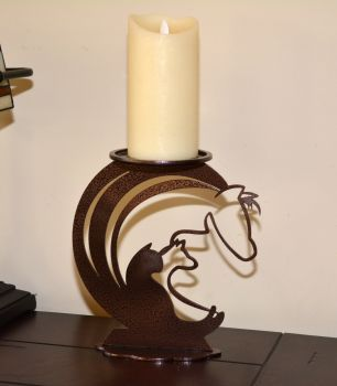 Our contemporary candle holder pedestal includes a horse, dog and cat.  This pedestal is beautifully crafted from sturdy 10 gauge steel and will last many generations. More info: