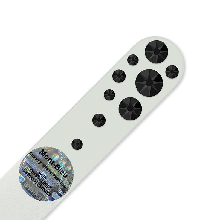 Purse Size Hand Decorated Crystal Glass Nail File with Swarovski Elements, Czech Tempered Glass, Lifetime Guaranty, in Suede Sleeve (Jet): Amazon.co.uk: Beauty