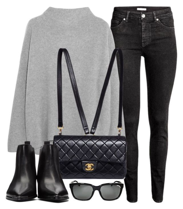 """Top"" by monmondefou ❤ liked on Polyvore featuring H&M, Vince, Chanel, Acne Studios, Burberry, black and grey"