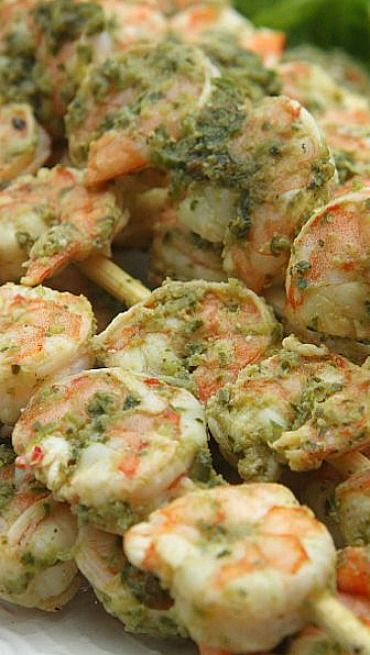 Lemon Pesto Grilled Shrimp...great game day appetizer or for a summer cook out!