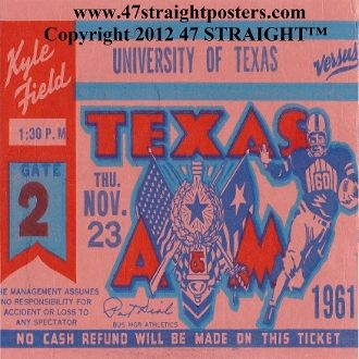 1961 Texas vs. Texas AM Football Ticket Coasters.™  Ceramic drink coasters printed in the U.S.A. and shipped within 24 hours. Made from over 2,000 historic college football tickets. Best last minute Father's Day gifts. $29.99