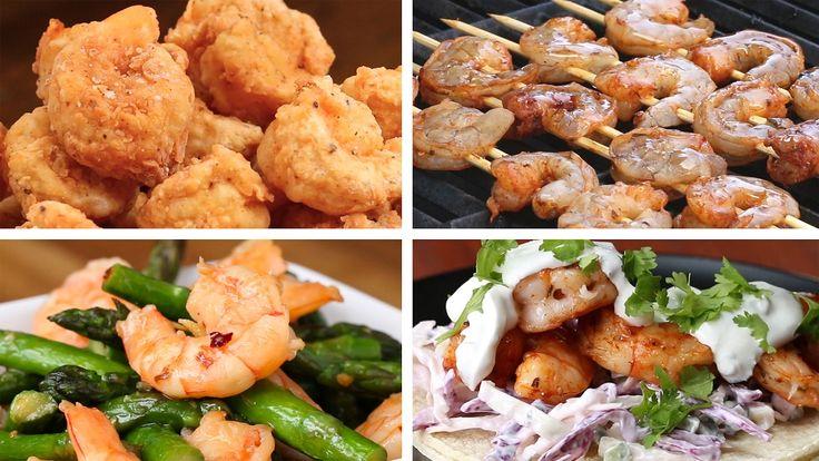 Shrimp & Asparagus Stir Fry | Creamy Spinach Shrimp Pasta | Grilled Shrimp Tacos | Tempura Shrimp & Veggies | Cajun Shrimp & Sausage Pasta | Popcorn Shrimp