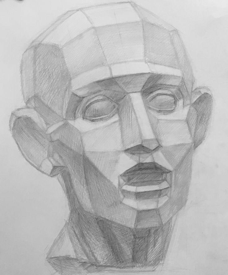My student work.  Korshet/ gypsum head  Materials: pencil  Экорше и обрубовка. Мои студенческие работы