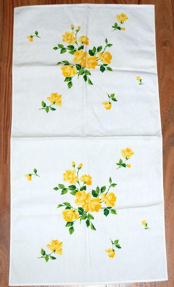 Vtg Linen Dresser Scarf Printed Yellow Roses Fl Table Runner