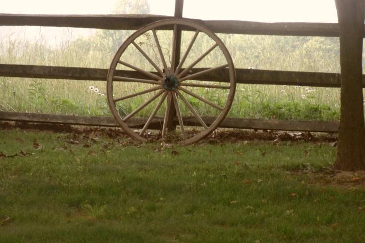 Wagon wheel horse farm wedding