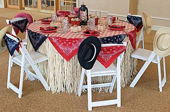 hat centerpieces   Use a real cowboy hat, turned upside down and line with a check ...