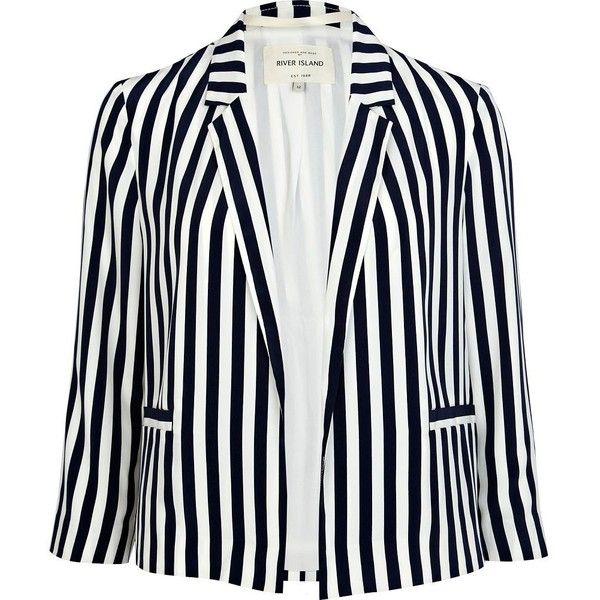 River Island Navy Stripe Blazer (€23) ❤ liked on Polyvore featuring outerwear, jackets, blazers, white jacket, river island jackets, navy blazer, white blazer and navy striped blazer