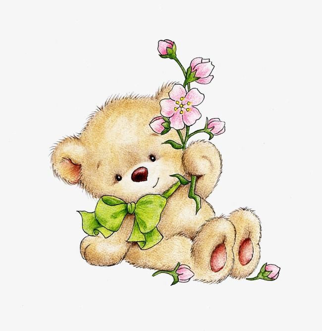 Bear Lovely Flowers Png And Vector With Transparent Background For Free Download Cute Teddy Bears Bear Art Cross Paintings