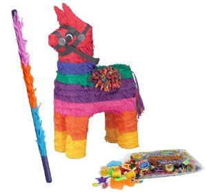 Mexican Fiesta Rainbow Donkey Pinata Kit - Includes Pinata, 2Lb Filler and Buster Stick by Pinatas.com. $43.49. Rainbow Donkey Pinata is approximately 19 quot; high x 10 quot; wide. Includes a plastic hook on the top for easy installation. Can also be used as a decoration. Buster bat is made of hard plastic and measures approximately 30 quot;. Caution: use only under adult supervision.. Pinata filler includes approximately 2 pounds of candy and toys, including Laffy Taffy, Smarti...