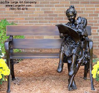 Storytime is a bronze sculpture of a woman and child enjoying a book together on a bench. - The Large Art Company