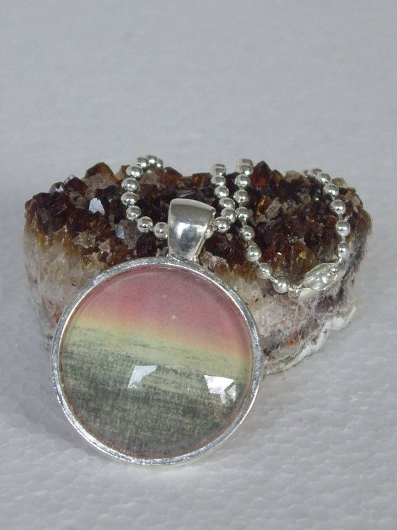 Summer Sunset - Round Art Print Necklace On Ball-chain In Gift Tin on Etsy, $17.00 AUD