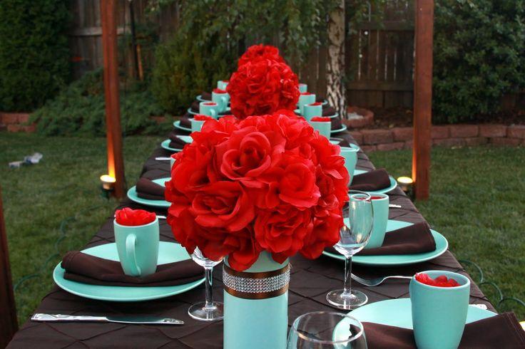 Red, Black, and Tiffany Blue reception wedding flowers,  wedding decor, wedding flower centerpiece, wedding flower arrangement, add pic source on comment and we will update it. www.myfloweraffair.com can create this beautiful wedding flower look.