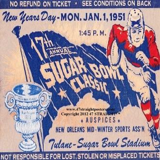1951 Sugar Bowl Coasters. Oklahoma vs. Kentucky. The BEST Oklahoma football gifts. Oklahoma football gifts made from authentic Oklahoma football tickets!