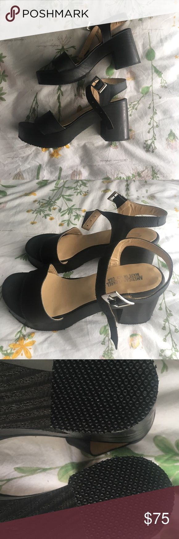 Black jelly sandals american apparel - American Apparel Wooden Heel Sandal Black Never Ever Worn Cute Ass American Apparel