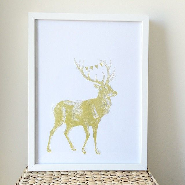 """Christmas is just round the corner! Putting up this beautiful gold ink print we did of a deer with buntings on it's horns onto the wall! It's available for purchase just email us at info@peepdesigns.com #christmas #gift #deer #buntings #silkscreen #screenprint #deco #homedeco #illustrations"""