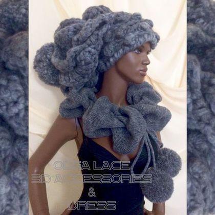 """Купить Мега объёмная вязаная шапка """"Luxury"""" от Olga Lace - объемная шапка, вязаная шапка"""