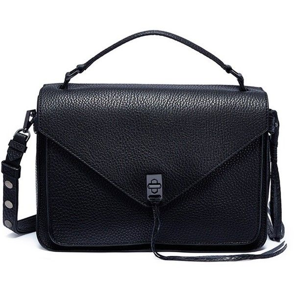 Rebecca Minkoff 'Darren' leather messenger bag ($460) ❤ liked on Polyvore featuring bags, messenger bags, black, courier bag, rebecca minkoff, leather carryall bag, leather courier bag and rebecca minkoff bags