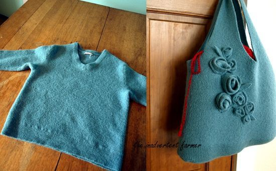upcycled wool purse tutorialRecycle Sweaters, Wool Sweaters, Felt Wool, Bags Tutorials, Old Sweaters, Felt Bags, Handmade Bags, Felted Bag, Handmade Crafts