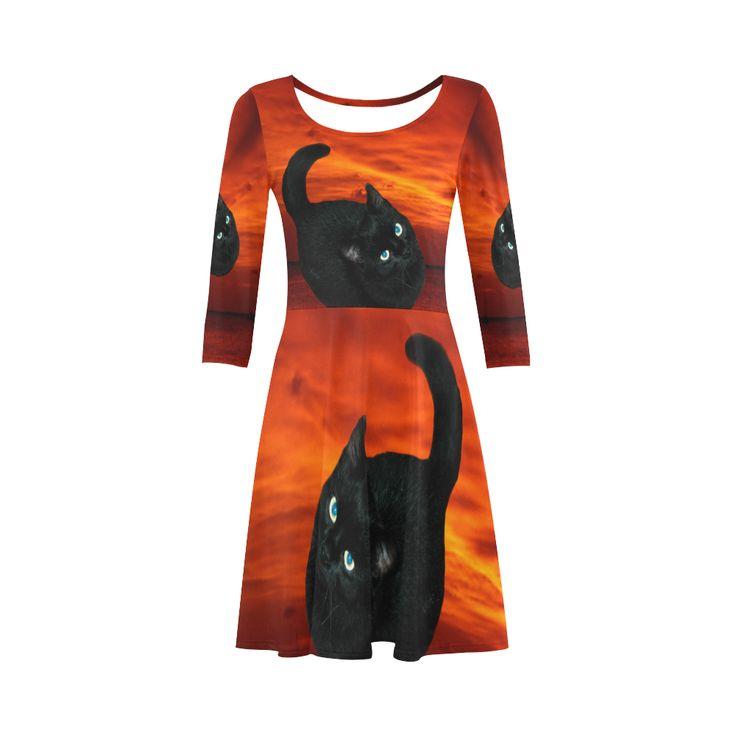 Black Cat 3/4 Sleeve Sundress. Material: 92% Polyester, 8% Spandex, well made lightweight soft fabric, skin-friendly. Sizes: XS, S, M, L, XL, XXL, XXXL.FREE Shipping. #beoriginalstore #dresses